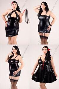 Sexy Wet-Look Chemise Kleid Minikleid Neglige schwarz Dessous Übergrößen 38 - 56