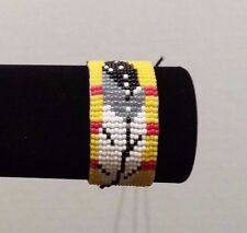 Beaded Native American Vietnam service ribbon Veteran Eagle Feather bracelet