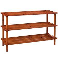 Shoe Rack 3 Tier Slated Shelf Walnut Wood Organiser Storage Stand Unit Holder