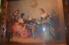 "VINTAGE RARE LOUIS JAMBOR ''INTERLUDE"" LITHO  / AWESOME WOOD WITH GLASS 33 X 27"