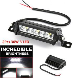 2Pcs 30W Offroad Car Truck Headlight 3 LED Spot Beam Work Light Bar Universal