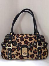 rafe new york Leopard Satchel Calf Hair Leather Handbag Purse
