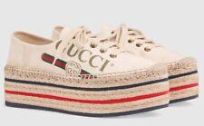Gucci Platform Red Logo Beige Canvas Lace Up Tie Sneaker Espadrille Flat 39.5