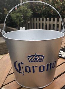 NEW 2020 Corona Metal Ice Bucket Blue Crown + Built-In Bottle Opener and Handle