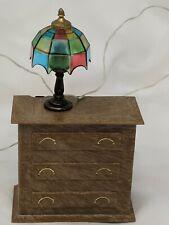 Vtg Miniature Dollhouse Furniture Dresser Nightstand Tiffany Style Lamp Pls Read