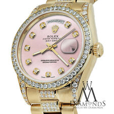 Rolex Presidential Day Date Metallic Pink Dial Diamond Watch 18 KT Yellow Gold