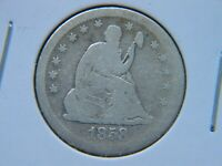 1858-S Seated Liberty Silver Quarter Rare Key Date Scratched