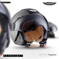 Jet-Helm Leder-Helm Vespa Roller-Helm Motorrad / MOTO H44 Vintage T. XS S M L XL