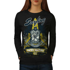 Wellcoda Pacific Surfing Holiday Womens Long Sleeve T-shirt, West Casual Design