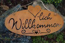 Rostoptik Schild Willkommen 28,5x16cm Wandschmuck Gartendekoration