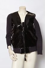 MARNI x H&M Black Patent Leather Bomber Zip Up Jacket Coat - Size 2