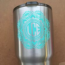 Personalized Mandala Monogram Name Cup Decal Sticker