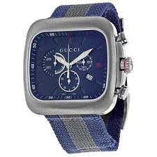 Gucci Coupe Dark Blue Dial Chronograph Gray-Blue NylStrap Men's Watch, YA131203