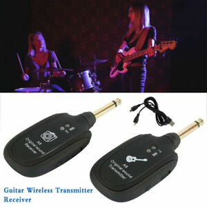 Guitar Bass Wireless System Transmitter Receiver Rechargeable 50M 4 Channels UK