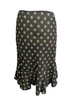 Hobbs Brown Yellow Floral Spotted Casual Occasion Party Flare Skirt Size 12