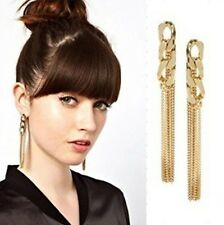 Hot Wholesale Women Jewelry Long Gold Plated Tassel Ear Stud Dangle Drop Earring