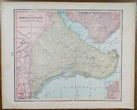 "Vintage 1900 CONSTANTINOPLE ISTANBUL TURKEY Map 14""x11"" ~ Old Antique Original"
