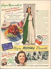 1940 vintage AD ROYAL Gelatin Desserts Royal Pudding w/ GINGER ROGERS 041417