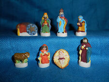NATIVITY Set of 8 Mini Figurines FRENCH Porcelain FEVES SANTON Figures Epiphany