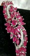 """NEW 14K WHITE GOLD STERLING SILVER GENUINE RUBY MARQUISE PAVE BANGLE BRACELET 7"""""""