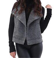 BB DAKOTA BG41559 Elms Brushed Rib Knit Charcoal Gray Vest Women's Large L ?