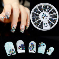300pcs Crystal Glitter Rhinestone 3D Nail Art Tips gems DIY Decoration + Wheel