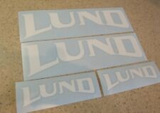 Lund Fishing Boat Vintage Decal Die-Cut White 4-PK FREE SHIP + FREE Fish Decal!