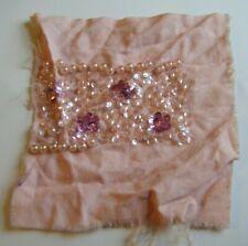 Handmade Antique Vintage Beadwork Pink & Silver Sequin Applique Piece - 1920's
