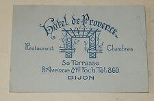 Ancienne CARTE de VISITE HOTEL de PROVENCE à DIJON - Restaurants - Chambres
