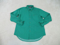Wrangler Button Up Shirt Adult Large Green Blue Long Sleeve Western Cowboy Mens