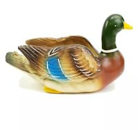 Vintage Napco Ceramic Mallard Duck Tabletop Planter Hunting Fishing Cabin Decor