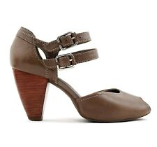 Clarks Brown Leather Wooden Cone Heel Sandals Shoes Peep Toe Ankle Straps UK 5