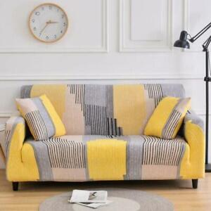 Yellow / Gray Abstract Stripe Pattern Sofa Couch Cover Slipcover