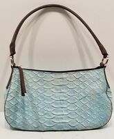 EUC MARC&MARC by SHARIF Blue Scale Look GENUINE LEATHER HANDBAG/SHOULDER BAG