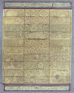 Vintage Thai palm leaf book hanging ornate scene buddha/calligraphy