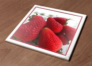Ceramic Hot Plate kitchen Trivet Holder strawberries berries fresh natural decor