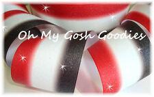 "3"" GLITTER TRIPLE OMBRE CHEER GROSGRAIN RIBBON 4 TIC TOC BOW BLACK WHITE RED"