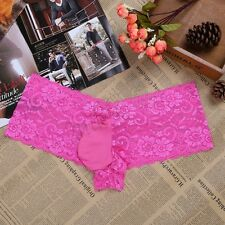 Lace Sissy Men's Bikini Thong Underwear Bulge Pouch Swim Panties Briefs Lingerie