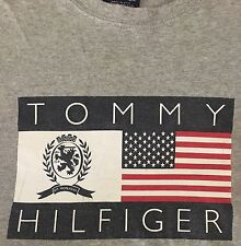 VINTAGE TOMMY HILFIGER SPELL OUT GRAY LONG SLEEVE T SHIRT M