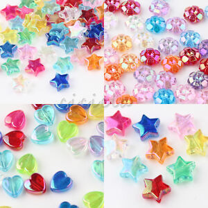 50/100Pcs Clear Acrylic Heart/Flower/Star Shape Loose Spacer Bead Jewelry Making