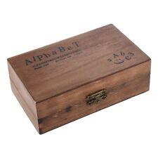 Pack of 70pcs Rubber Stamps Set Vintage Wooden Box Case Alphabet Letters Nu Z8N7