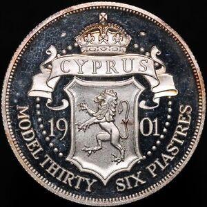 1901 | Cyprus Victoria Patina Model 36 Piastres 'Silver Piedfort' | KM Coins