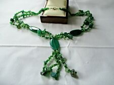 "LOVELY DOUBLE STRAND GREEN AGATE 22"" NECKLACE FRINGE PENDANT"