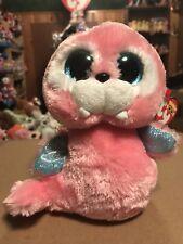 """Ty TUSK -Pink/Blue 6"""" Beanie Boo Walrus! *Retired* RARE & VHTF!!"""