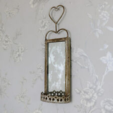 Espejo De Metal Pequeño Colgante de Pared Vela Candelabro De Pared Shabby Vintage Chic Jardín De Casa