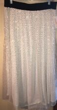 NWT LuLaRoe 2XL LUCY Long Lined Skirt Elegant Holiday White DISCONTINUED