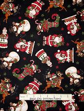 Christmas Fabric - Santa Mrs Claus Deer Elf Toss Black RJR Holly Jolly - Yard