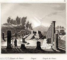 Pompei: Tempio di Venere. Audot. Acciaio. Stampa Antica + Passepartout. 1835
