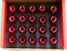 En aluminium forgé Wheel lug nut (20) M14 X 1.5 mm x 60 mm rouge 21 mm Hex