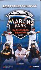 2012 MIAMI MARLINS BASEBALL POCKET SCHEDULE -  INAUGURALSEASON MARLINS PARK
